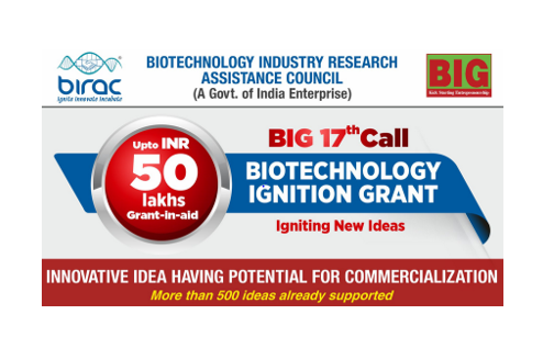 Call for Proposals: Biotechnology Ignition Grants by BIRAC, New Delhi [Grants Upto Rs. 50L]: Submit by Sept 15