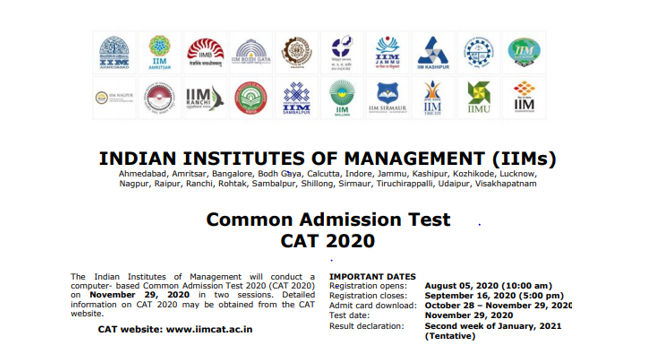 CAT 2020 Notification for Admissions to IIMs [Exam on Nov 29]: Register by Sep 23 [Extended]