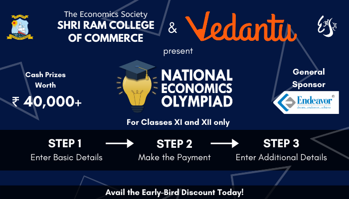 National Economics Olympiad for Class XI and XII by Shri Ram College of Commerce [Cash Prizes Worth Rs. 40k+]: Register by Oct 30