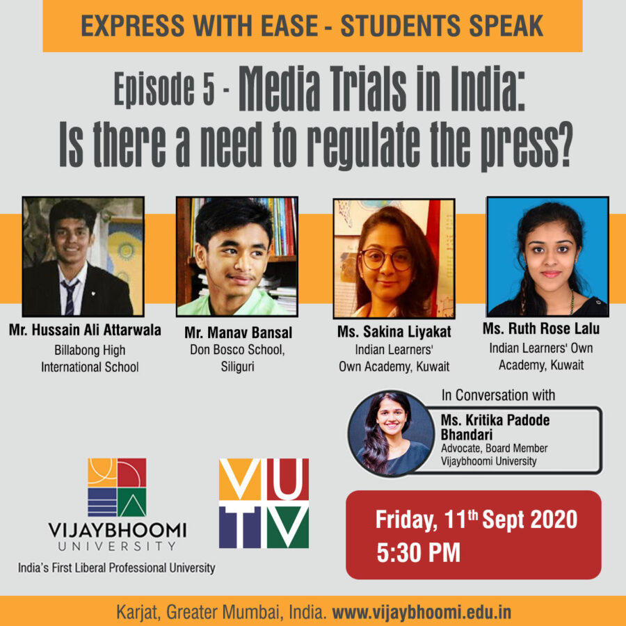 Webinar Media Trials India there need regulate the press Vijaybhoomi University