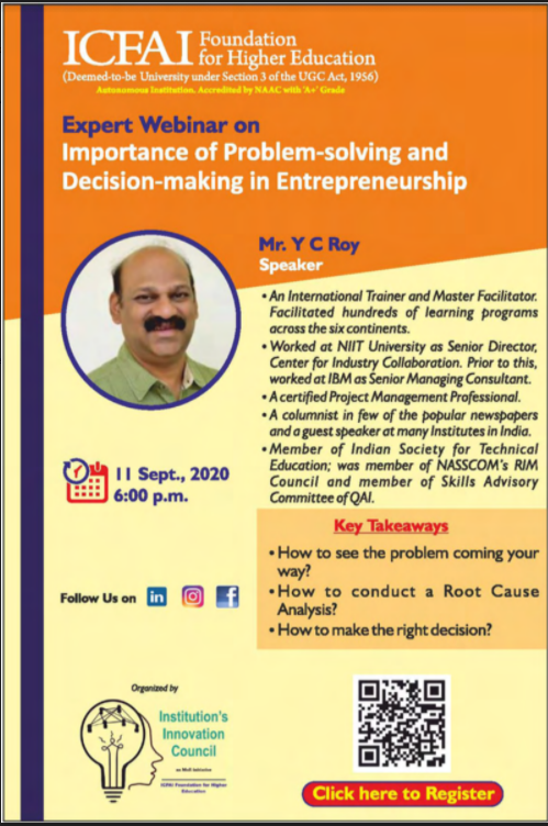 Webinar on Importance of Problem-Solving and Decision-Making in Entrepreneurship by IFHE, Hyderabad [Sep 11, 6:00 PM]: Registration Open