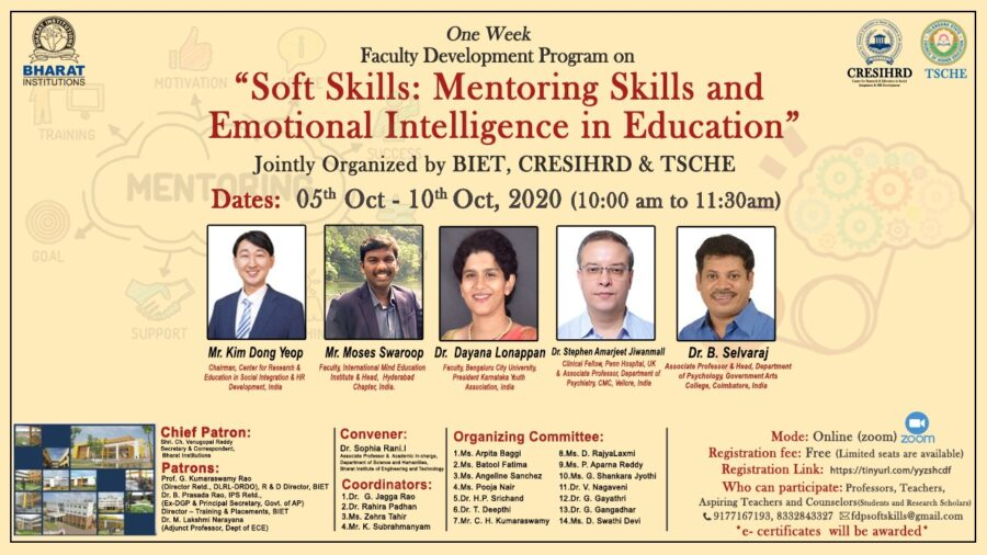 FDP on Soft Skills: Mentoring Skills and Emotional Intelligence in Education by BIET, Hyderabad [Oct 5-10]: Registration Open