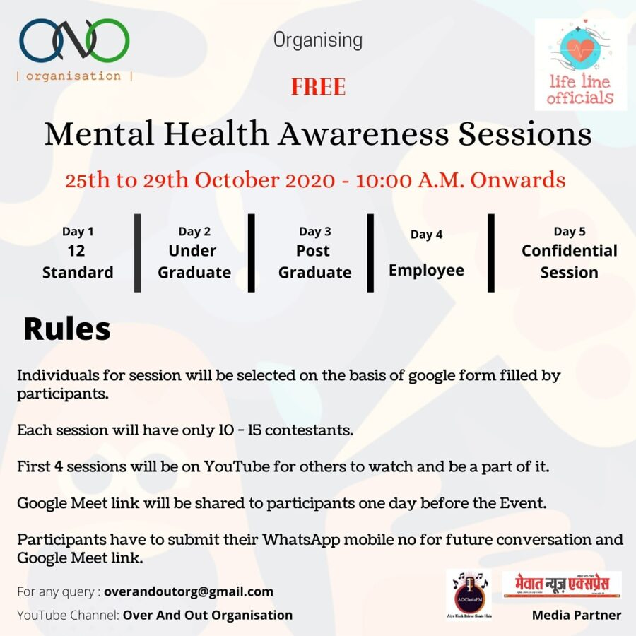 Online Mental Health Awareness Sessions by ONO Organization [Oct 25-29, 10:00 AM]: Registration Open