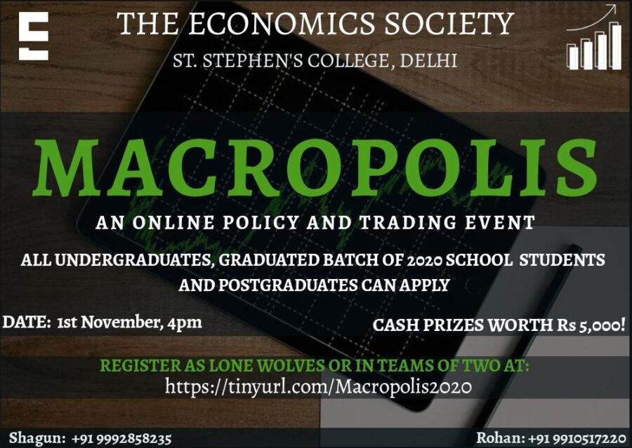 Macropolis: Online Policy and Trading Competition by St. Stephen's College, Delhi [Nov 1, 4:00 PM]: Registration Open