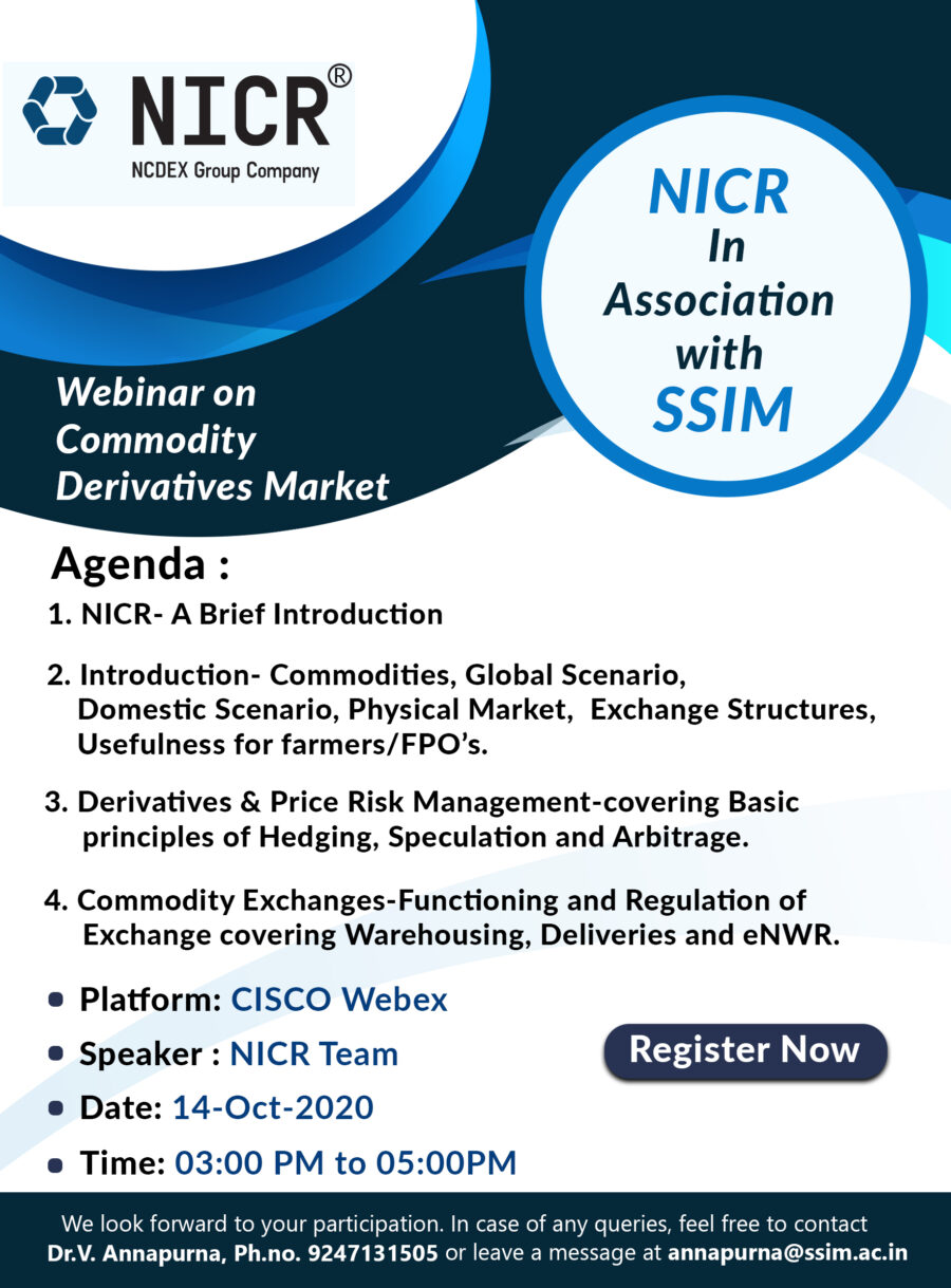 Webinar on Agriculture Commodity Derivatives Market by Siva Sivani Institute of Management, Hyderabad [Oct 14, 3:00 PM]: Register by Oct 13