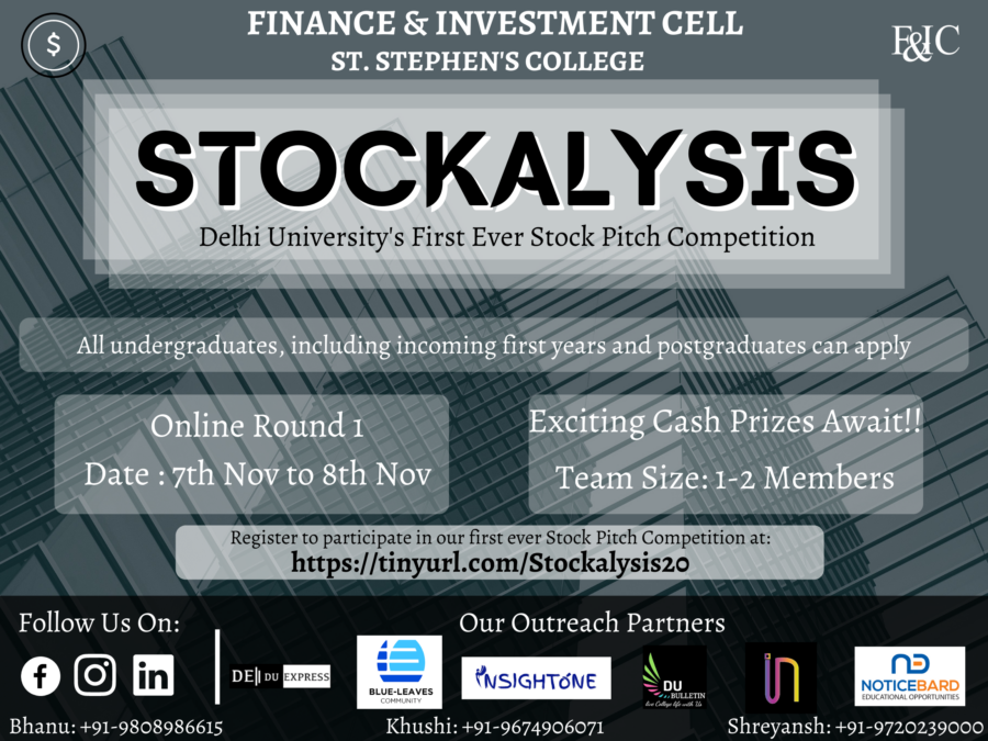 Stockalysis 2020: Stock Pitch Competition by St. Stephen's College, Delhi [Exciting Cash Prizes]: Registration Open