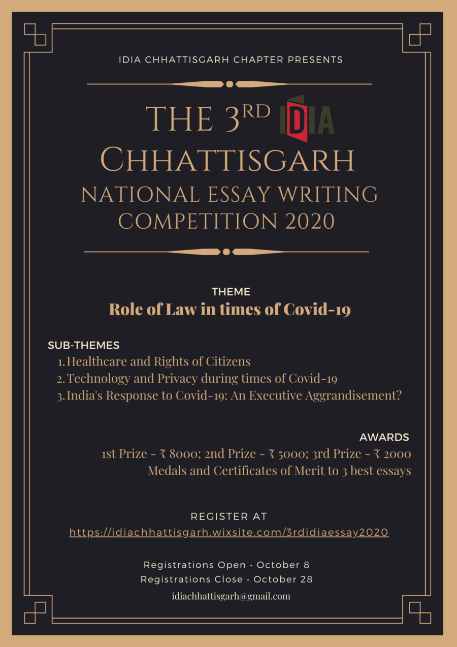 The 3rd IDIA Chhattisgarh National Essay Writing Competition 2020 [Cash Prizes Worth Rs. 15k]: Register by Oct 28
