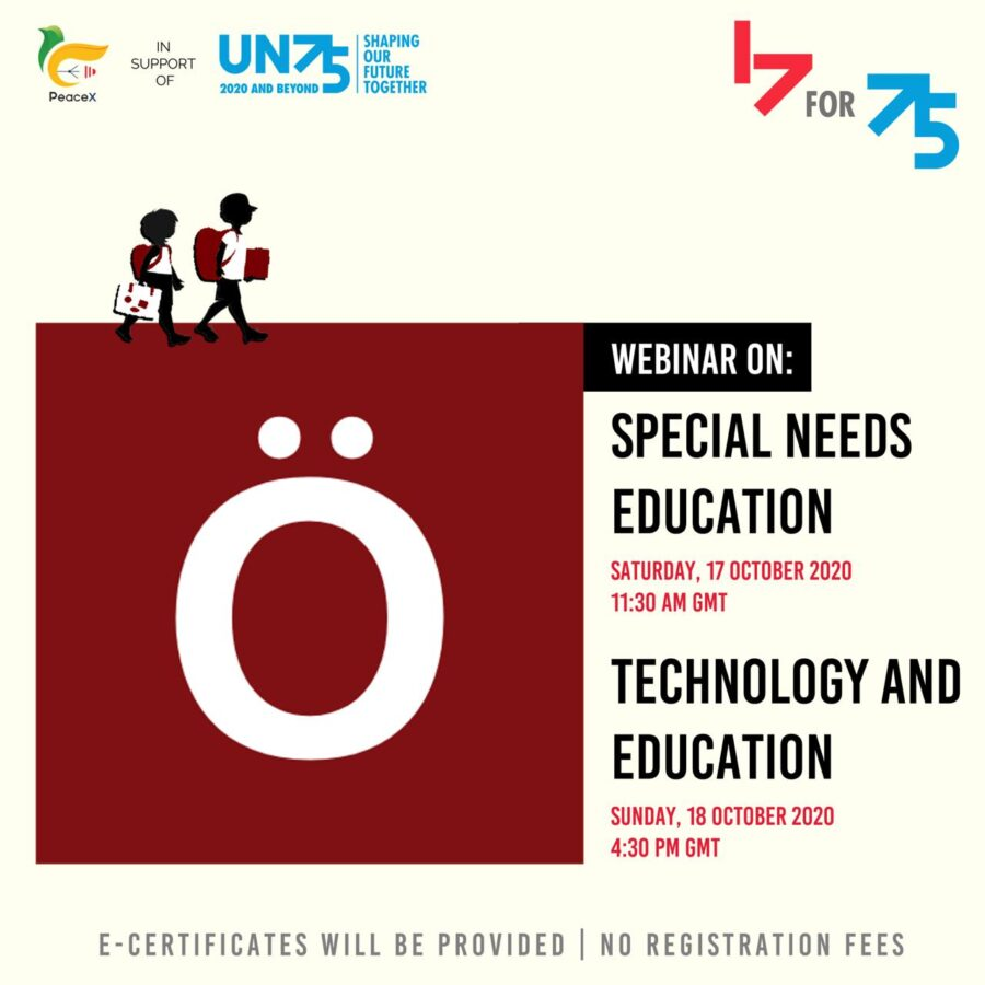 PeaceX Webinar on Special-needs Education: A Roadmap for Inclusivity with Development [Oct 17, 5:00 PM]: Registration Open