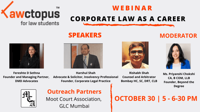 Lawctopus Free Webinar on Corporate Law as a Career [Oct 30, Fri, 5-6:30 pm]: Register Now!