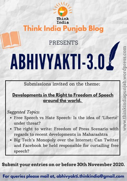 Call for Blogs: Abhivyakti 3.0 by Think India, Punjab: Submit by Nov 30: Expired