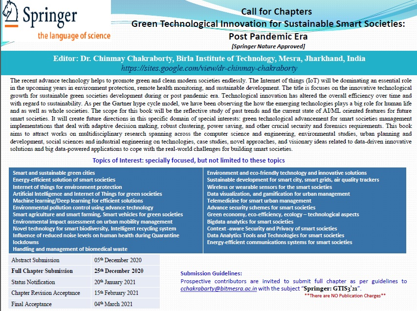 Call for Chapters: Green Technological Innovation for Sustainable Smart Societies