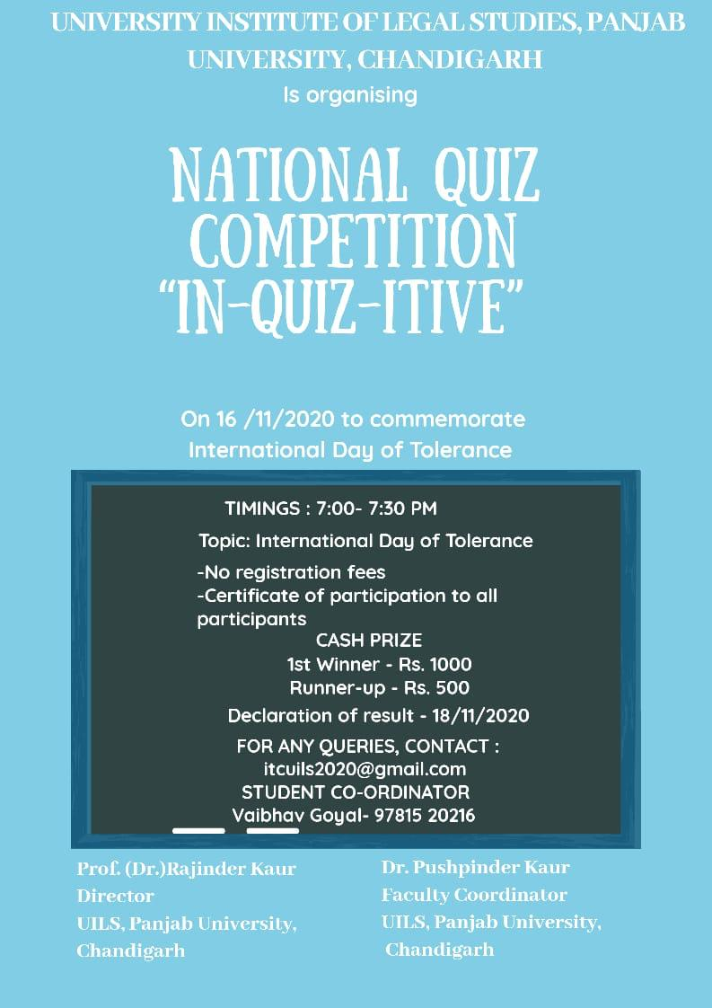 IN-QUIZ-ITIVE: National Quiz Competition by UILS, Chandigarh [Nov 16]: Register by Nov 14