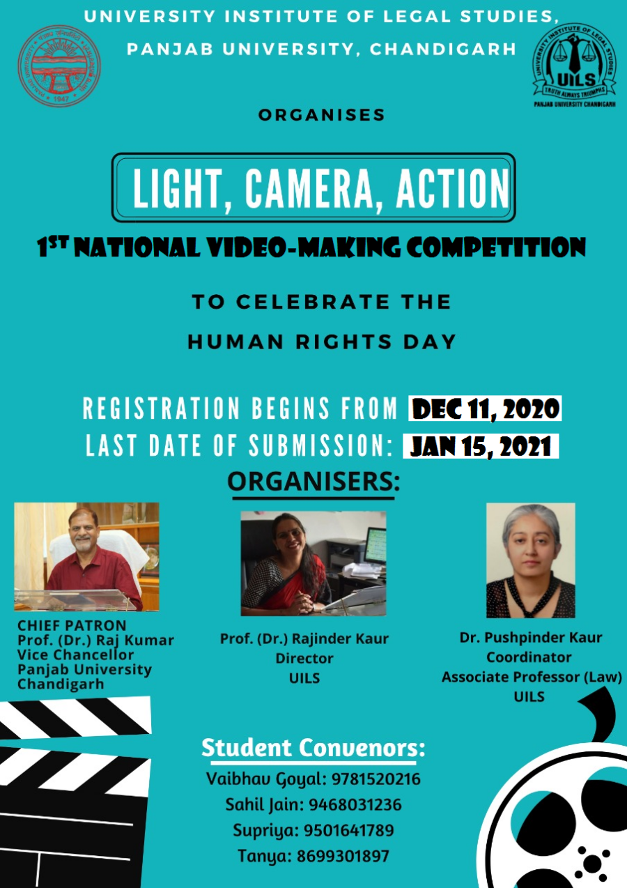 National Video Making Competition by UILS, Chandigarh [Total Cash Prizes Worth Rs. 1.5k + e-Certificates]: Submit by Jan 15, 2021