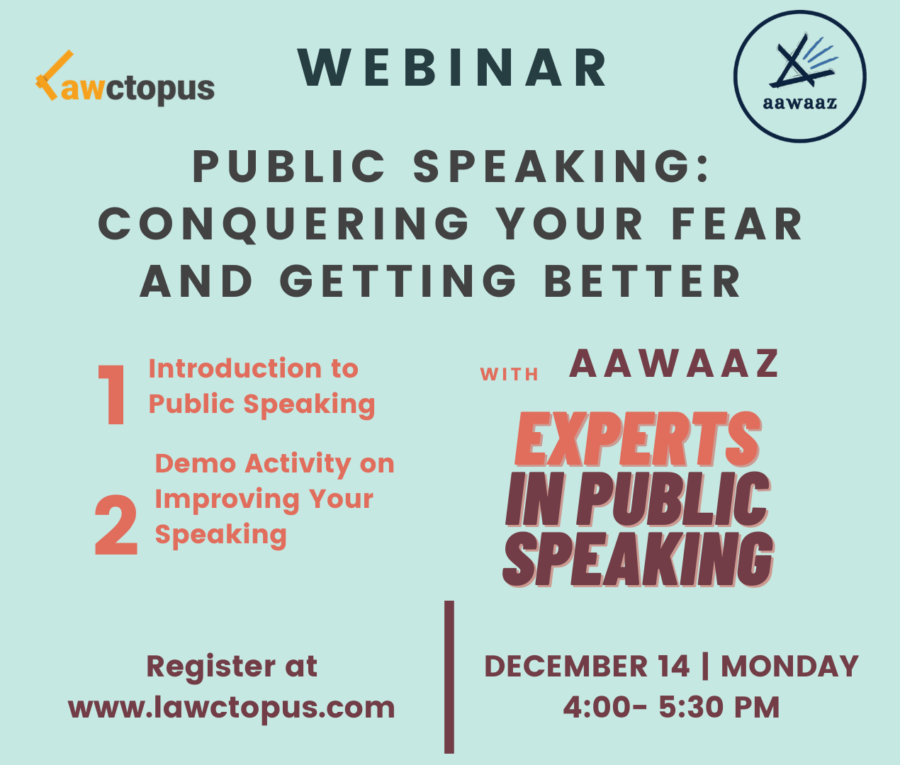 Free Demo Class on Public Speaking by Lawctopus & Aawaaz [Monday, Dec 14, 4:00-5:30 PM]: Register Now