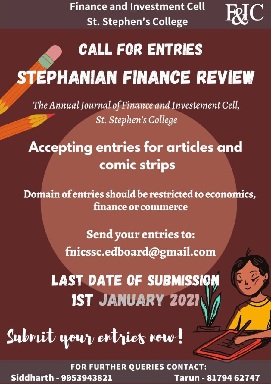 Call for Entries: Stephanian Finance Review by St. Stephen's College, New Delhi: Submit by Jan 1, 2021