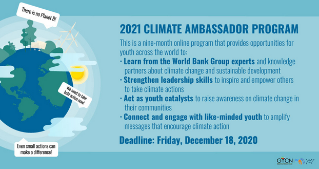 Global Youth Climate Network 2021 Climate Ambassador Program: Apply by Dec 18