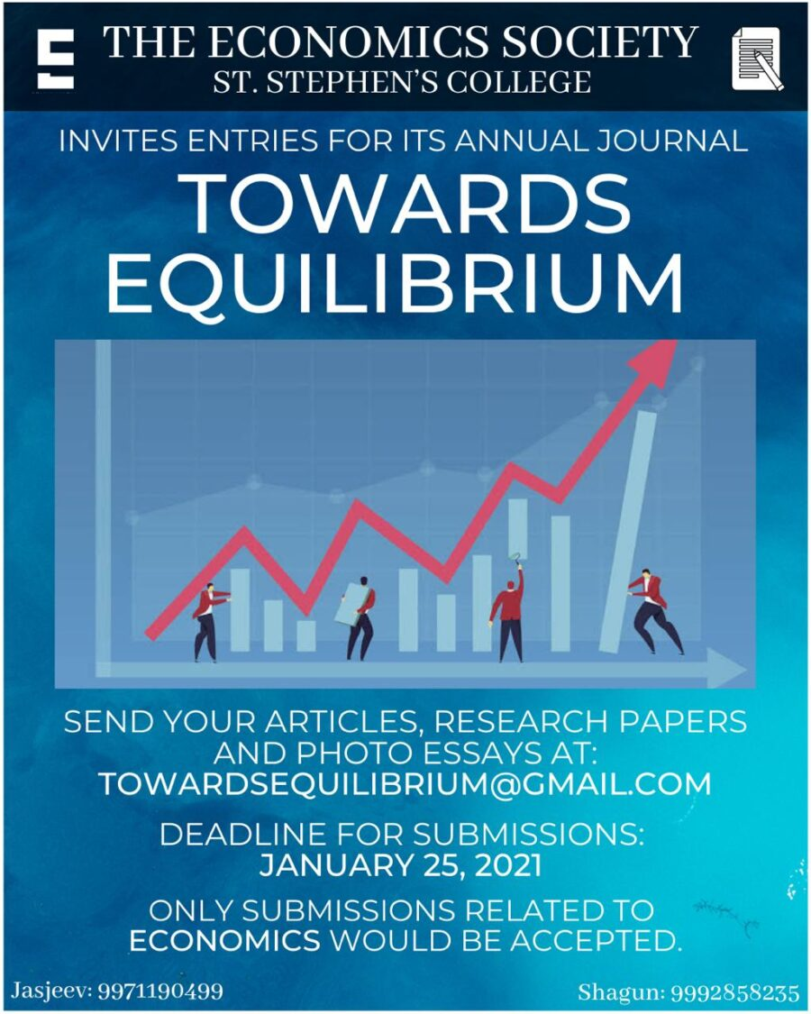 Call for Submissions: Annual Economics Journal by St. Stephen's College: Submit by Jan 25