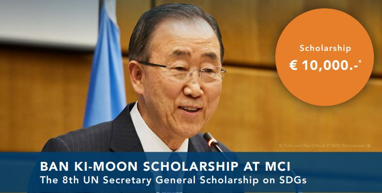 Ban Ki-Moon Scholarship for Masters' Program 2021 at MCI, Austria [Support Worth Rs. 8.8 L]: Apply by March 31