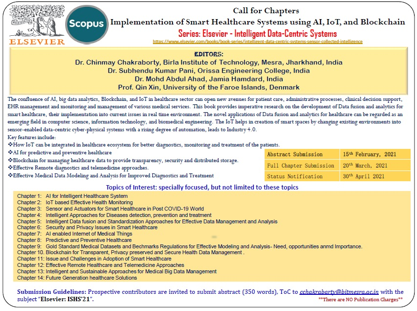 Call for Chapters: Implementation of Smart Healthcare Systems using AI, IoT, and Blockchain: Submit by Feb 15