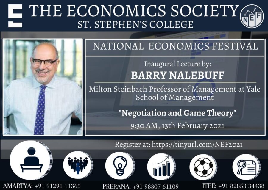 Inaugural Lecture on Negotiation and Game Theory by Dr. Barry Nalebuff [Feb 13, 9:30 PM]: Register Now!