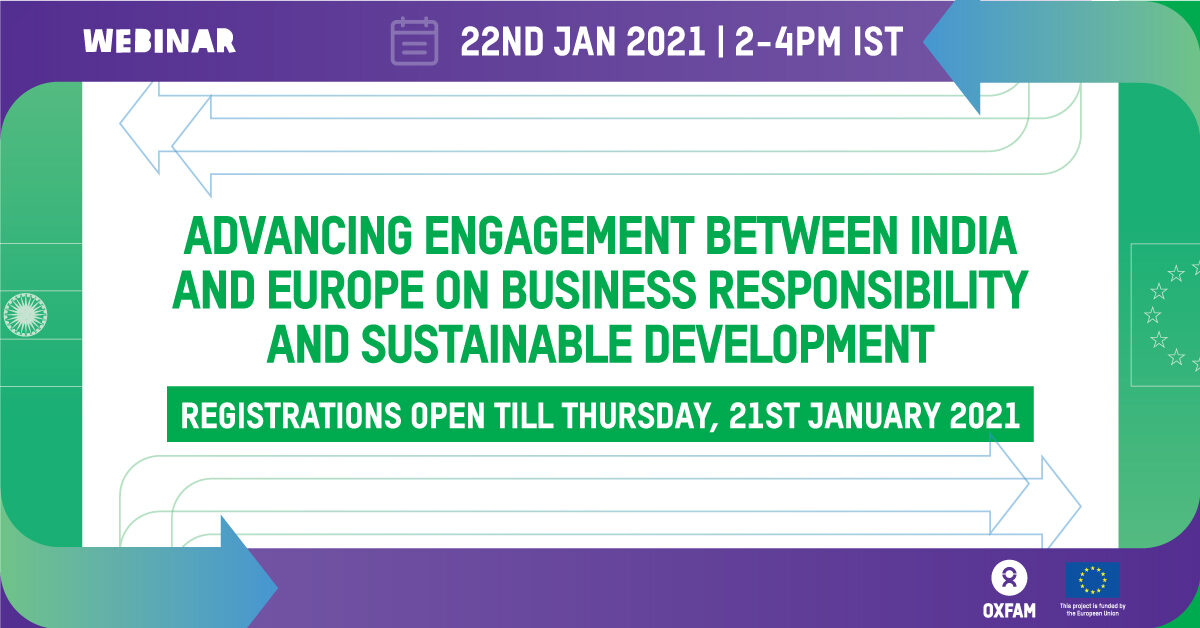 Webinar on Advancing Engagement between India and Europe on Business Responsibility and Sustainable Development by Oxfam