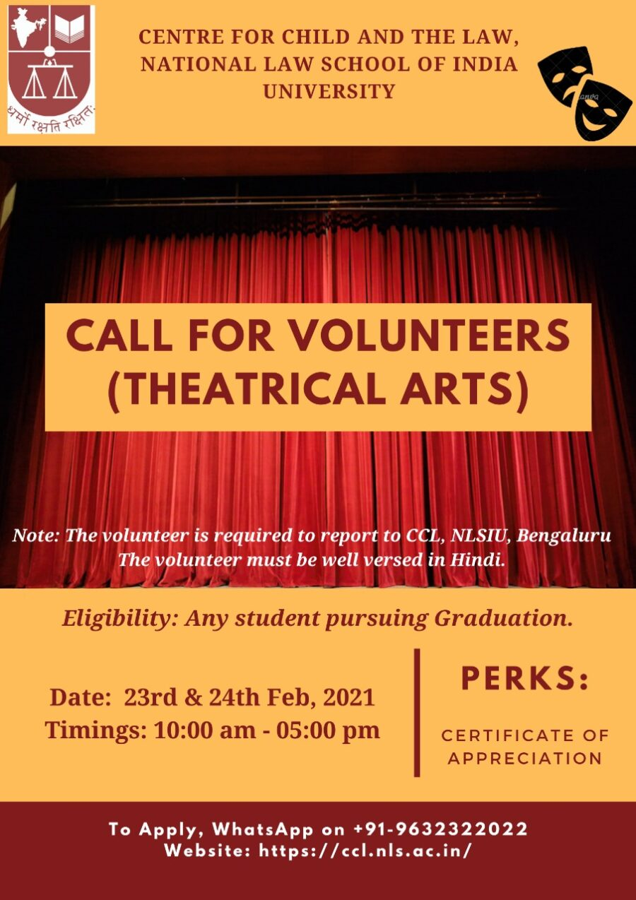 Call for Volunteers: Theatrical Arts by NLSIU, Bengaluru [Feb 22-23]: Applications Open