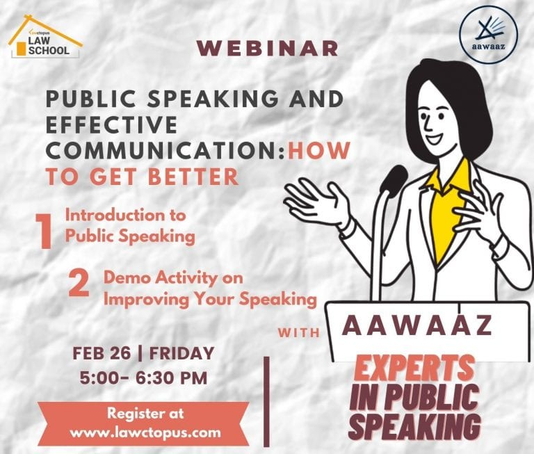 Free Webinar & Demo Class on Public Speaking and Effective Communication by Lawctopus Law School & Aawaaz [Friday, Feb 26, 5-6.30 PM]: Register Now