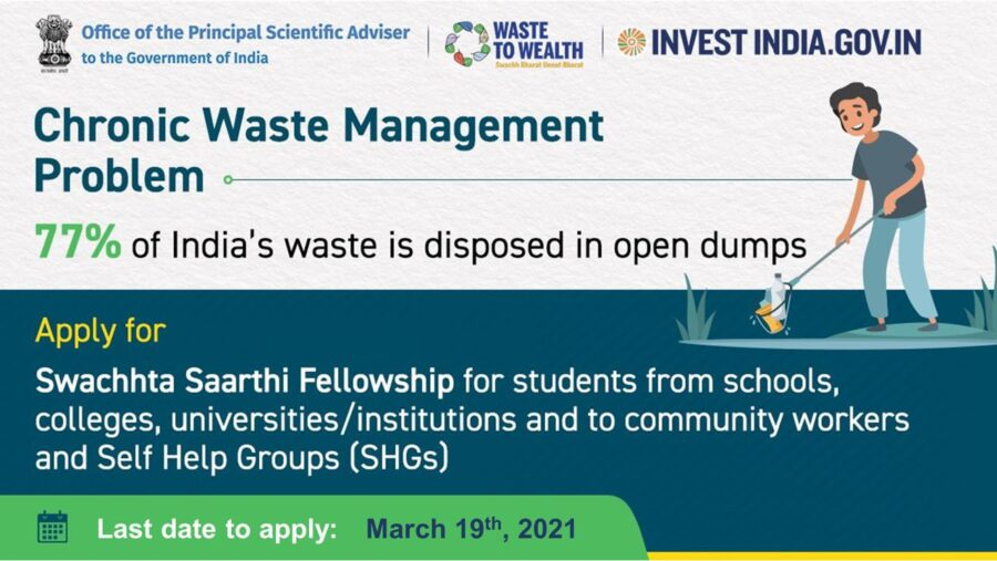 Swachhta Saarthi Fellowship 2021 by Govt of India: Apply by Mar 19