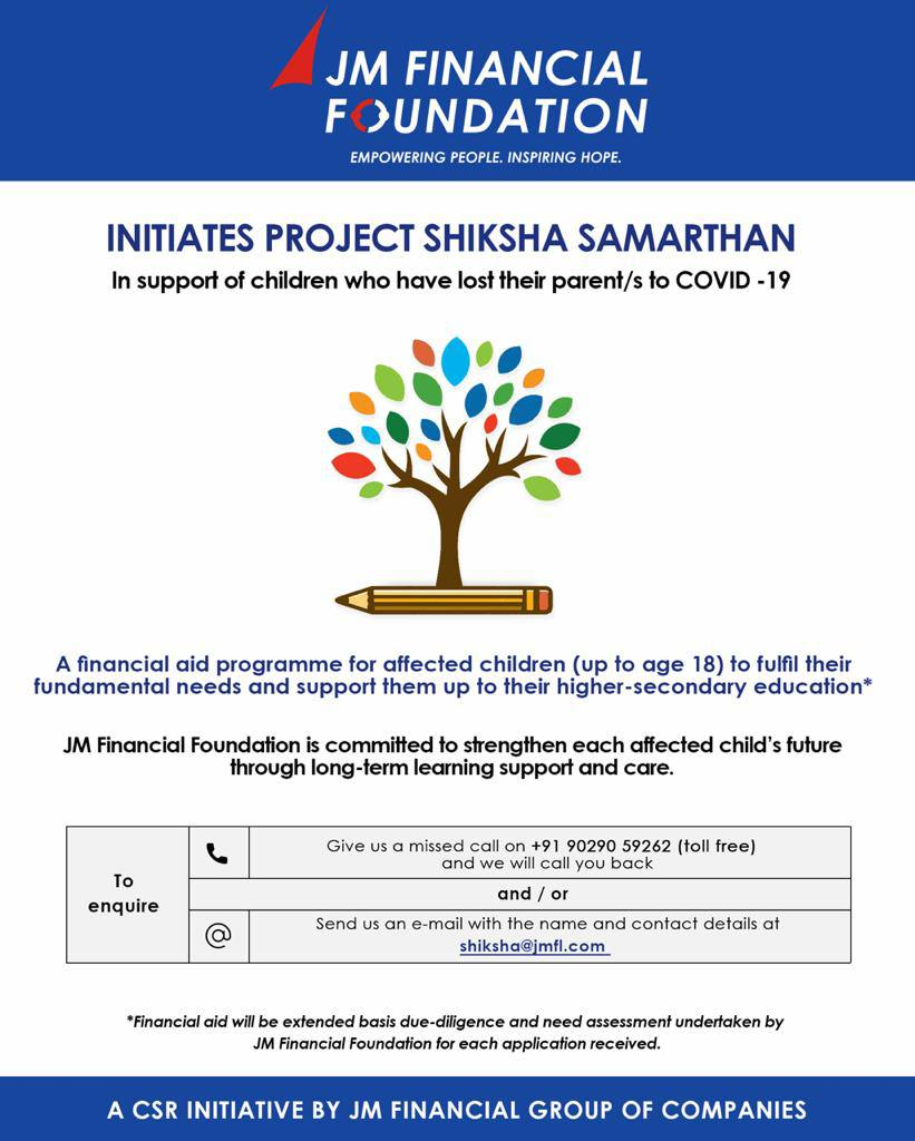 Project Shiksha Samarthan for Children [Lost their Parent/s to COVID-19] by JM Financial Foundation: Apply Now!