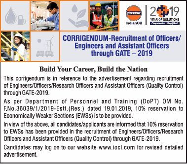 Indian Oil GATE 2019 Engineers Recruitment