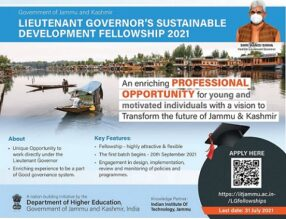 Lieutenant Governor's Sustainable Development Fellowship (LGSDF) Programme 2021 [Amount Rs. 1 L/Month]: Apply by July 31: Expired
