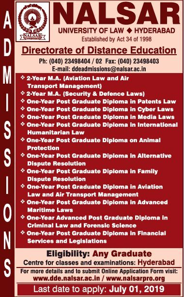 NALSAR PG Distance Courses Admissions 2019