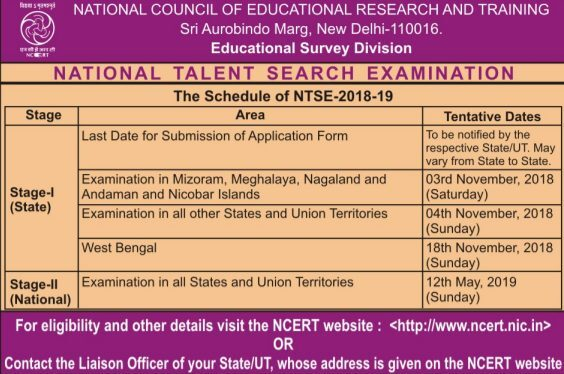 National Talent Search Examination 2018