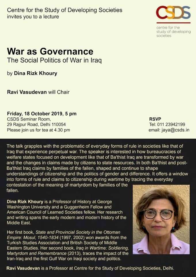 Lecture by Dina Rizk Khoury on War as Governance