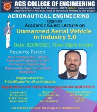 Webinar on Unmanned Aerial Vehicle in Industry 5.0 by ACS College of Engineering, Bangalore [Sep 2; 3:00 PM]: Register Now!