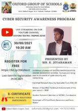 Webinar on Cyber Security Awareness by Oxford Group of Schools [Aug 30; 10:30 AM]: Register by Aug 29: Expired