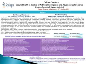 Call for Chapters: Secure Health in the Era of Artificial Intelligence and Advanced Data Science: Submit by Nov 20