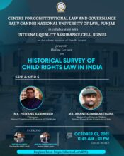 Online Lecture on Historical Survey of Child Rights Law in India by CCLG, RGNUL [Oct 2; 11:45 AM]: Register Now!
