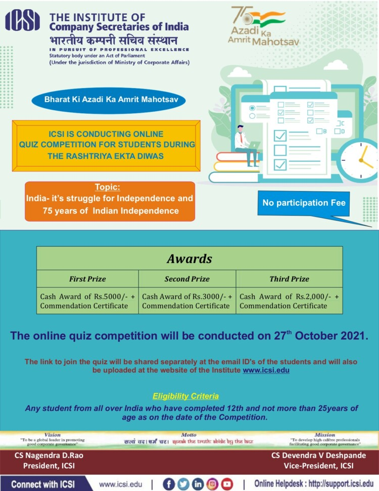 Online Quiz Competition on Indias Struggle for Independence